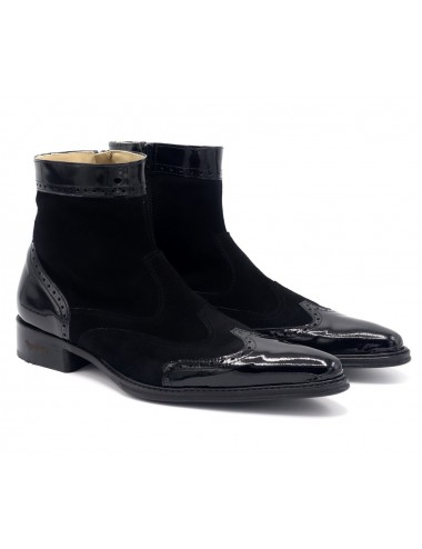 homme daim tendances verni cuir noir et Boots v7yY6bfg
