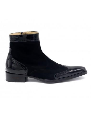 Bottines homme - Boots homme cuir verni et daim noir tendances