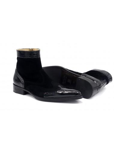 Boots homme cuir verni et daim noir tendances - Bottines hommes artisanales