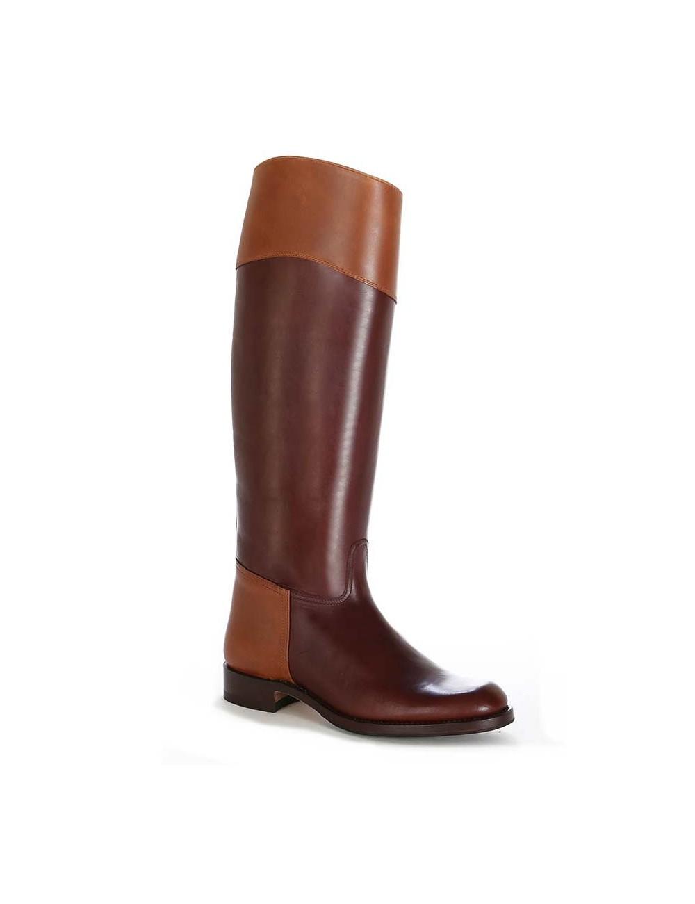 Bottes cavalières marron cuir bicolore - Bottes cavalières artisanales