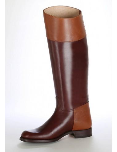 Bottes cavalières - Bottes cavalières marron cuir bicolore
