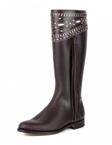 Bottes cavalières espagnoles cuir marron femme - Bottes moto sur mesure