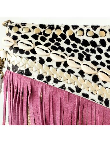 Pochette femme cuir et daim mauve et imprimé léopard