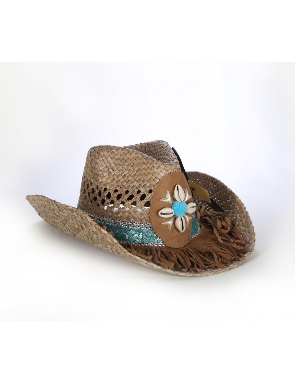 Chapeau de paille western turquoise