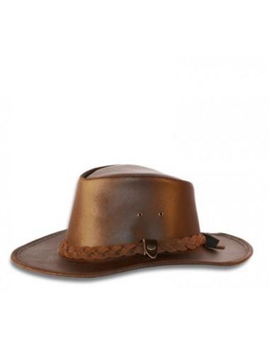 Chapeaux western cuir - Chapeau de cuir marron country