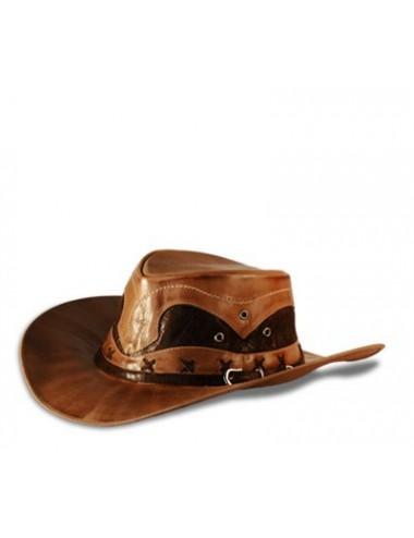 Chapeaux western cuir - Chapeau country cuir marron original