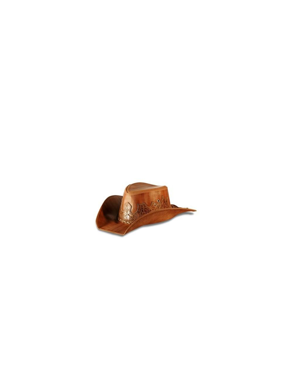 Chapeaux western cuir - Chapeau cowboy cuir marron