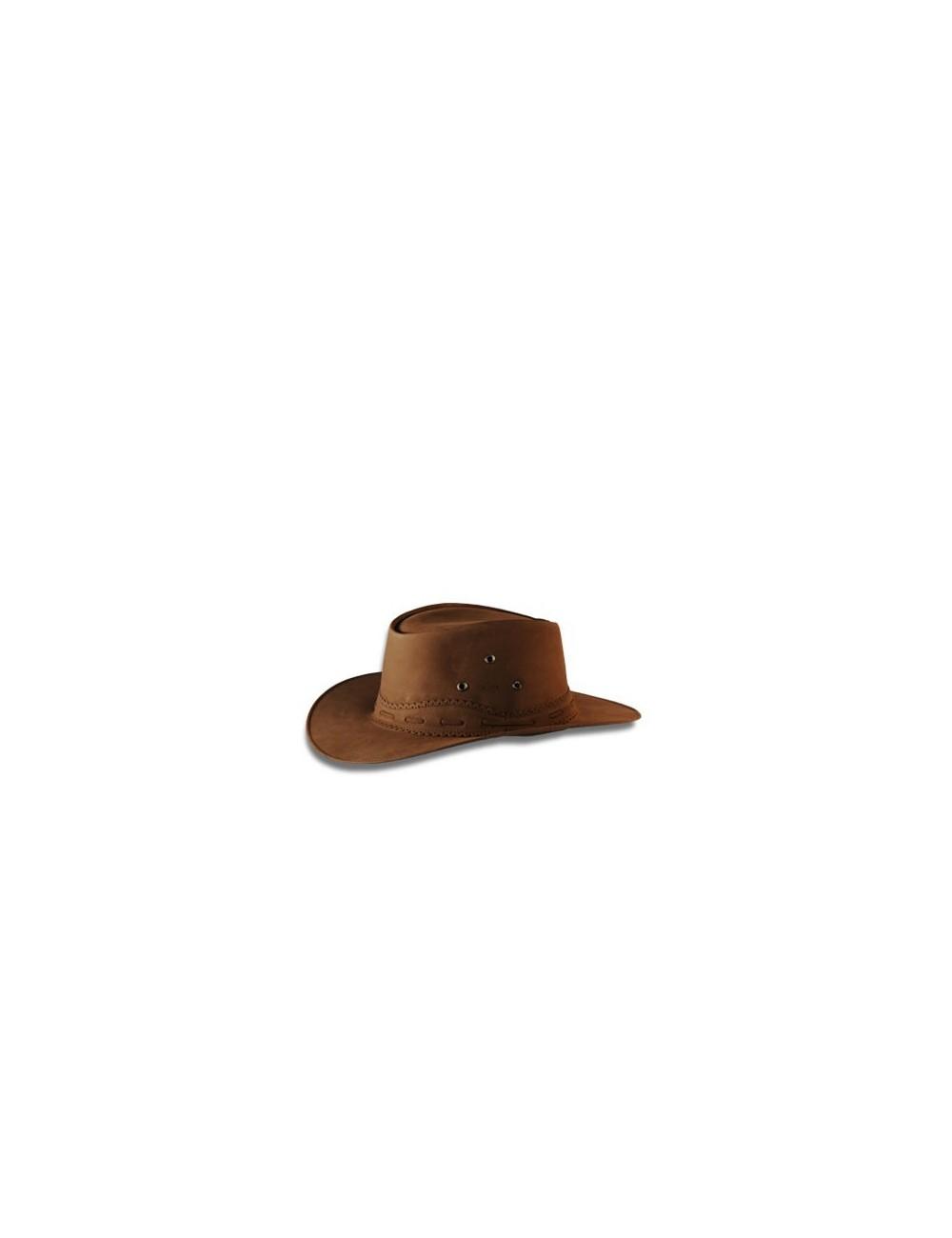Chapeaux western cuir - Chapeau country cuir nubuck marron