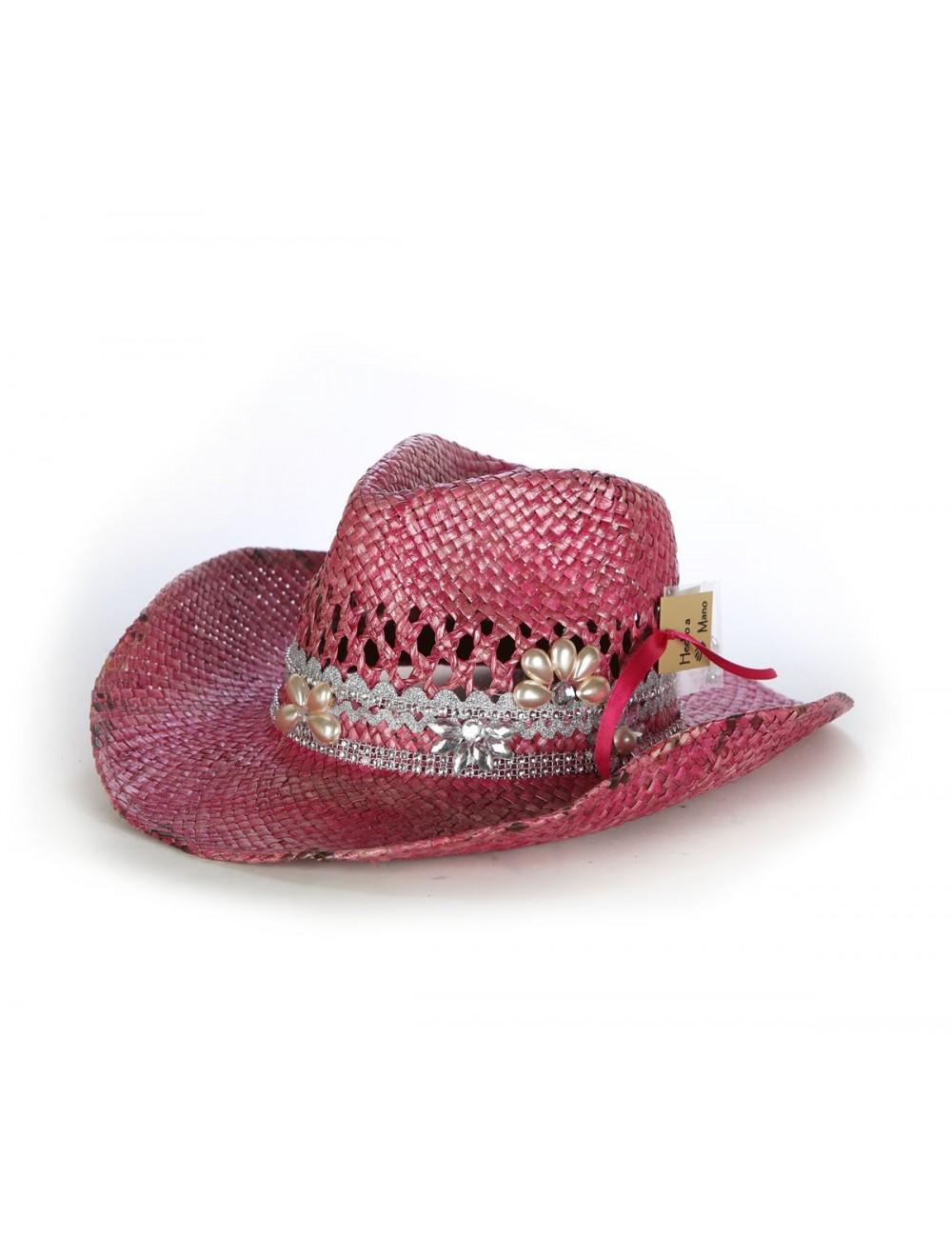 Chapeau cowboy rose en paille