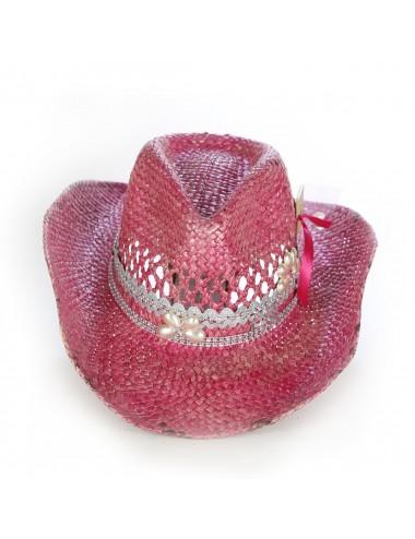 Chapeaux western cuir - Chapeau cowboy rose en paille