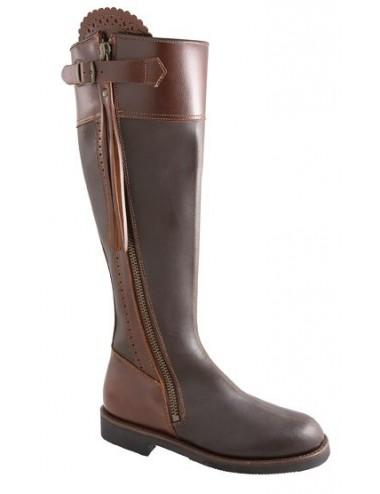 Bottes chasse montagne - Bottes de chasse cuir marron à franges