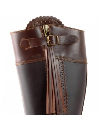 Bottes de chasse cuir marron à franges - Bottes chasse et montagne