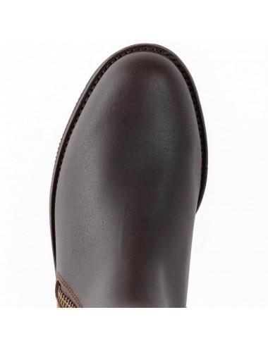 Bottes de chasse cuir marron à franges