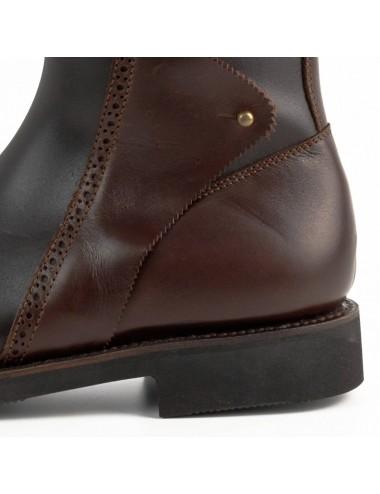 Bottes chasse montagne - Bottes plates cuir marron ibériques