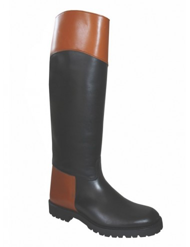 Bottes plates en cuir bicolores semelles crantées - Bottes chasse et
