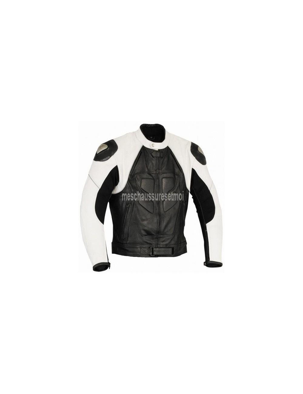 Blouson moto cuir noir et blanc