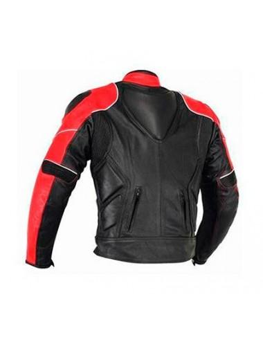 Blouson moto cuir noir et rouge