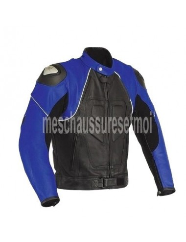 Blouson moto cuir - Blouson moto cuir noir et bleu