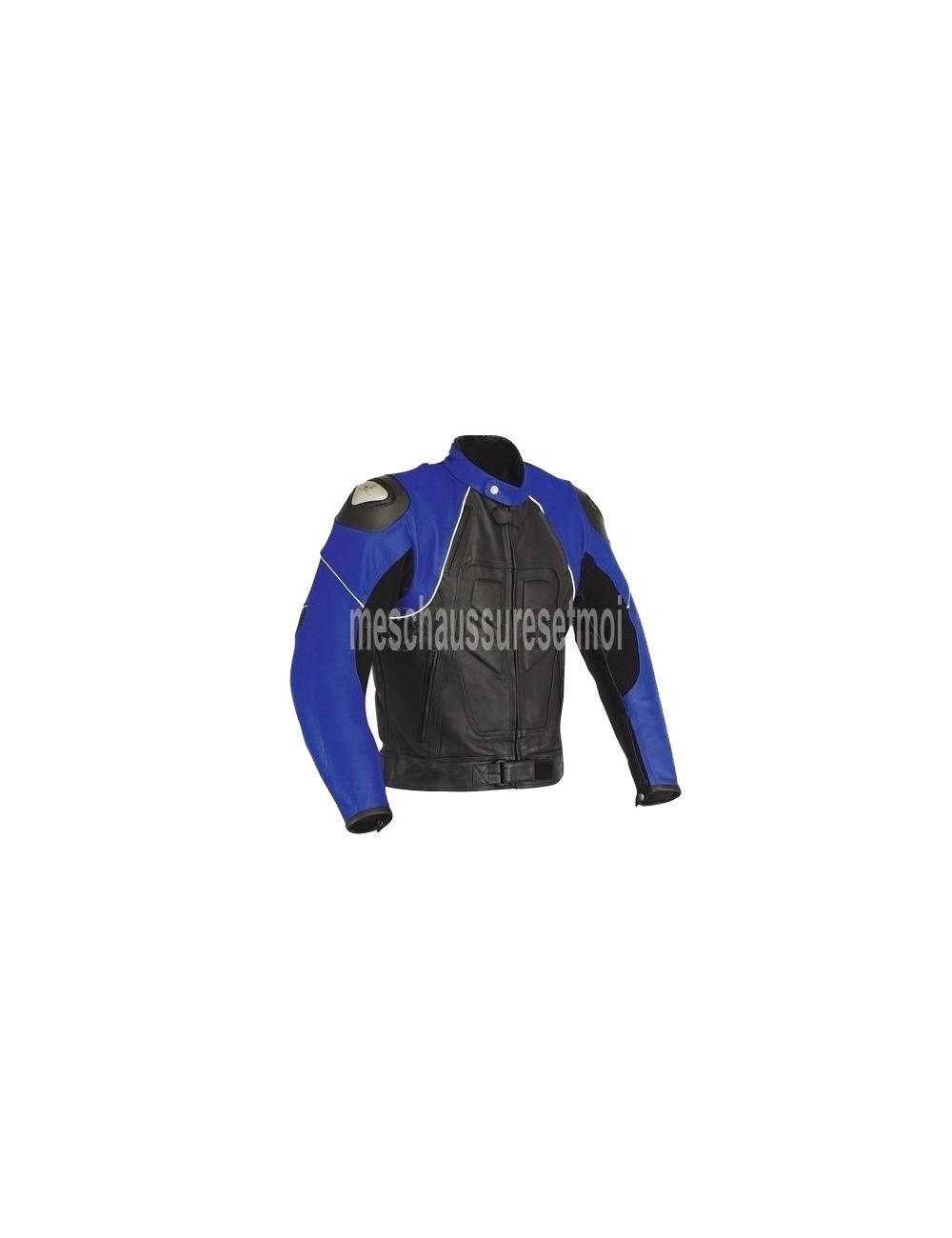 Blouson moto cuir noir et bleu