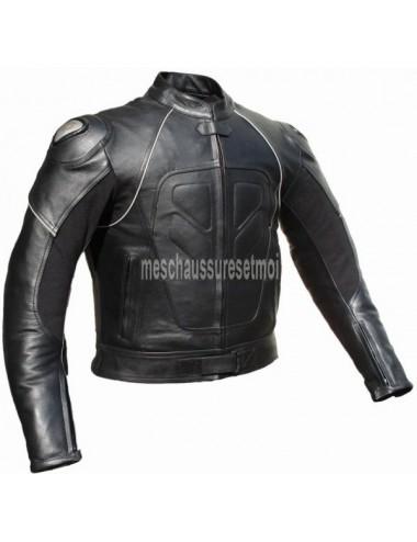 Blouson moto cuir noir protections titane