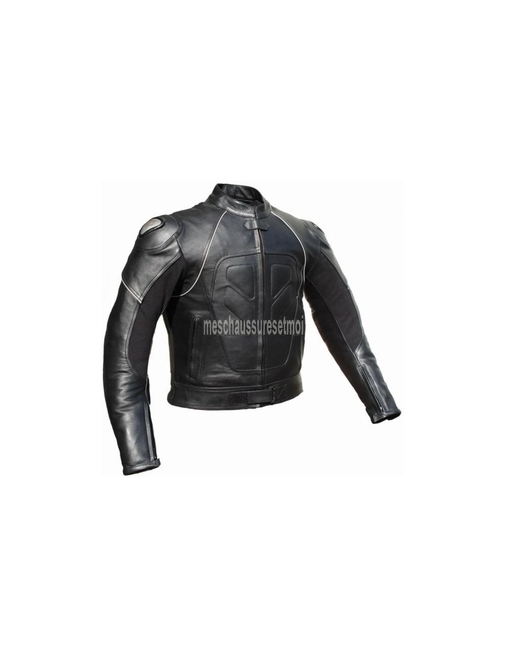 Blouson moto cuir - Blouson moto cuir noir protections titane