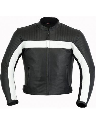Blouson moto cuir noir et blanc coques de protections