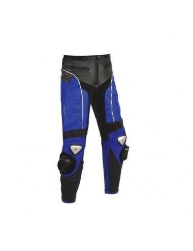 Pantalon moto cuir - Pantalon moto cuir noir et bleu