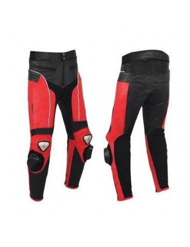 Pantalon moto cuir - Pantalon moto cuir noir et rouge