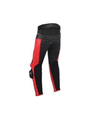Pantalon moto cuir noir et rouge