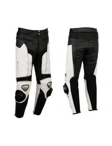 Pantalon moto cuir noir et blanc
