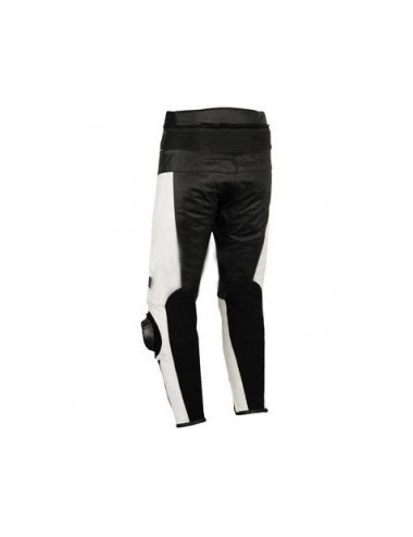 Pantalon moto cuir - Pantalon moto cuir noir et blanc