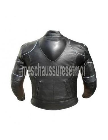 Blouson moto cuir noir protections bosse dos