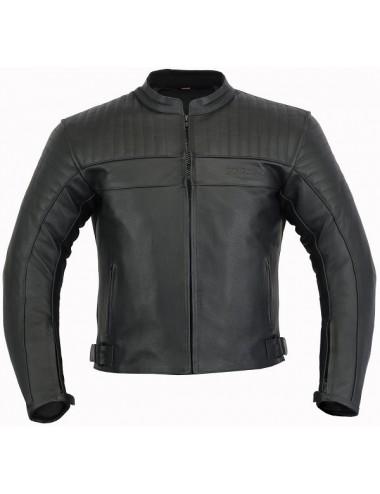 Blouson moto cuir noir matelassé coques protection