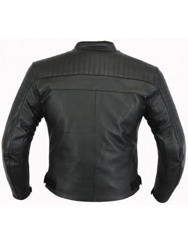 Blouson moto cuir - Blouson moto cuir noir matelassé coques protection