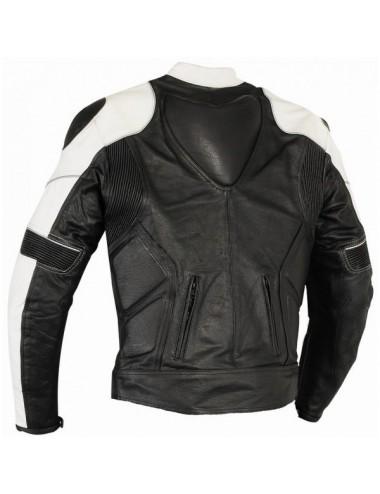 Blouson moto cuir noir et blanc sur mesure