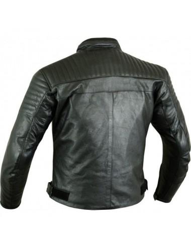 Blouson moto cuir noir matelassé sur mesure