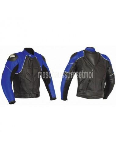 Blouson moto cuir noir et bleu sur mesure