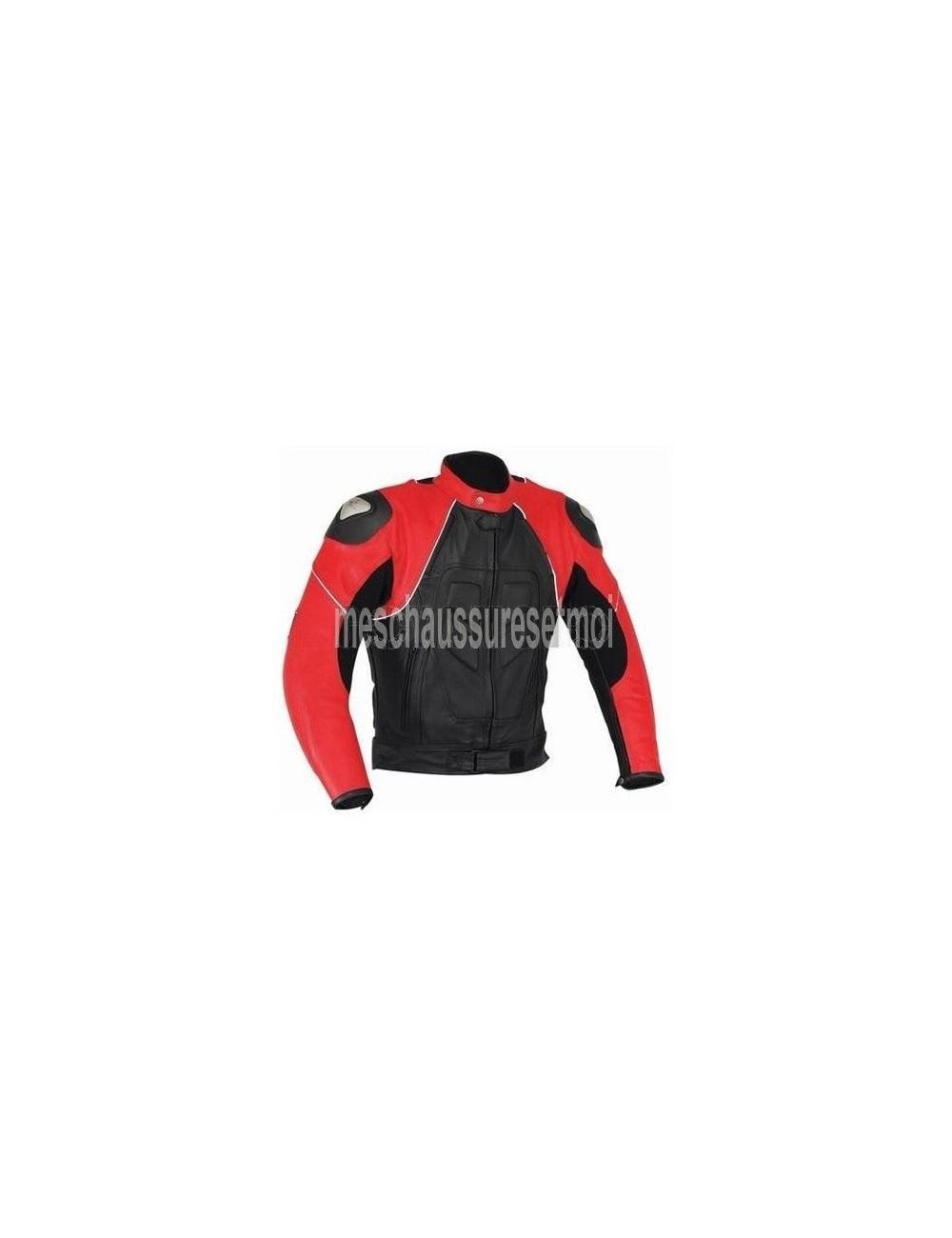 Vêtement moto sur mesure - Blouson moto cuir noir et rouge sur mesure