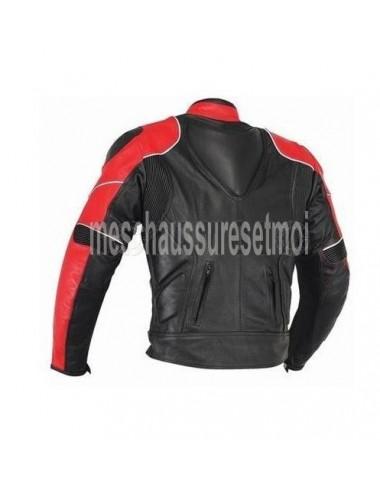 Blouson moto cuir noir et rouge sur mesure