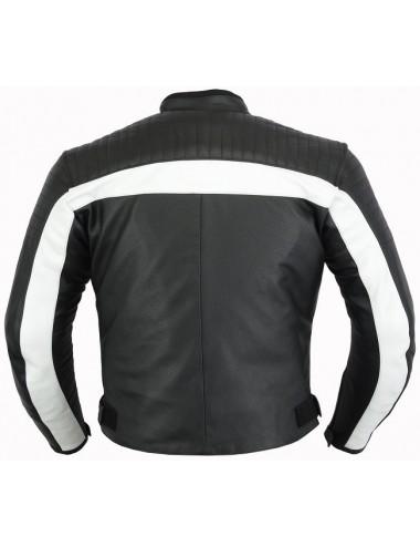 Blouson moto cuir noir et blanc sur mesure coques de protections