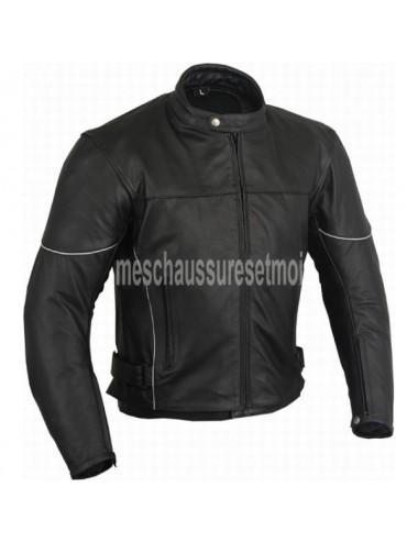 Blouson moto sur mesure en cuir noir