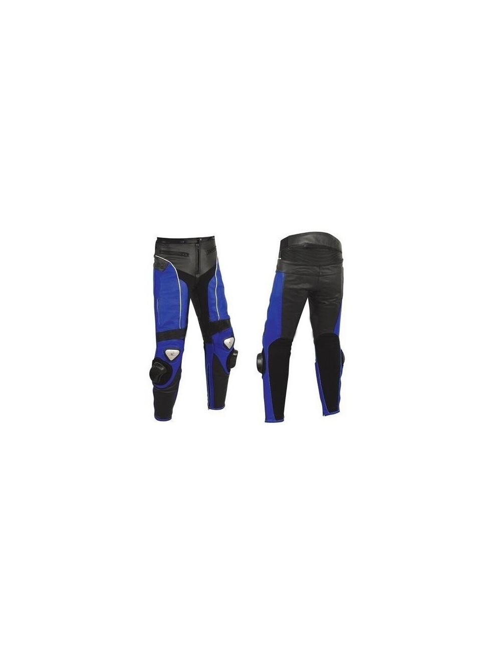 Pantalon moto sur mesure cuir noir et bleu