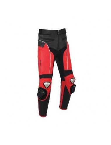 Vêtement moto sur mesure - Pantalon moto cuir sur mesure noir et rouge