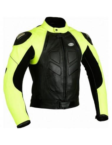 Vêtement moto sur mesure - Blouson moto cuir fluo jaune et noir sur mesure