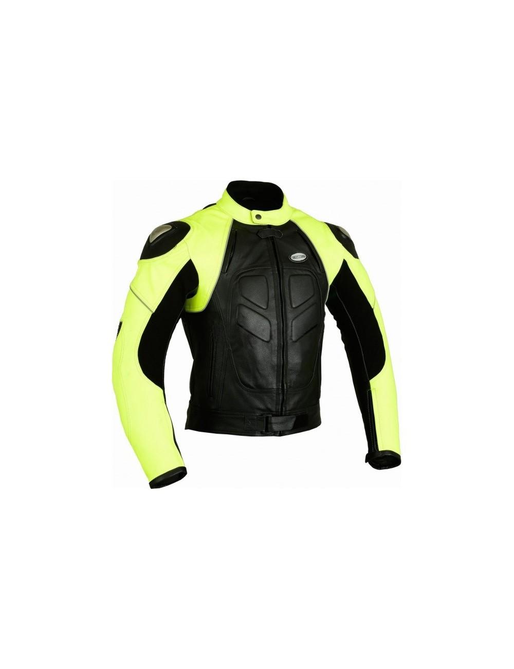 Blouson moto cuir fluo jaune et noir sur mesure