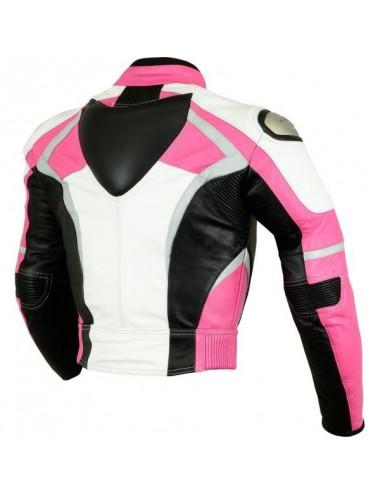 Blouson moto sur mesure cuir rose femme
