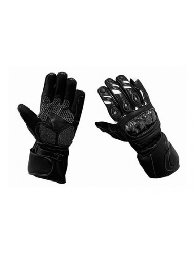 Gants moto cuir - Gants de moto en cuir noir et blanc protections carbone