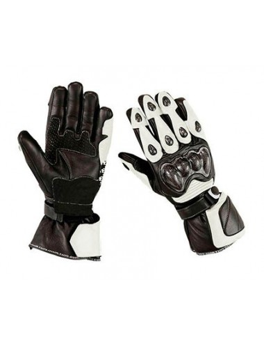 Gants moto cuir - Gants de moto en cuir noir et blanc hautes protections