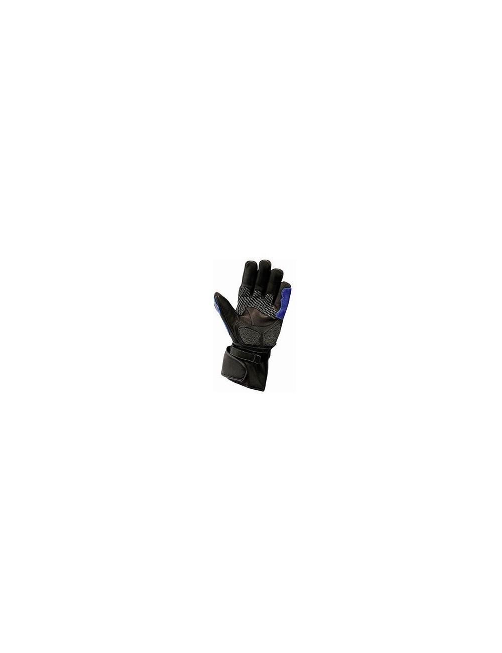Gants moto cuir - Gants de moto en cuir noir et bleu protections carbone