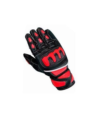 Gants moto cuir - Gants de moto en cuir rouge et noir haute protection